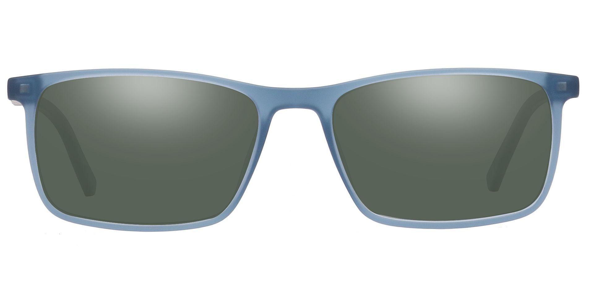 Helga Rectangle Prescription Sunglasses - Blue Frame With Green Lenses