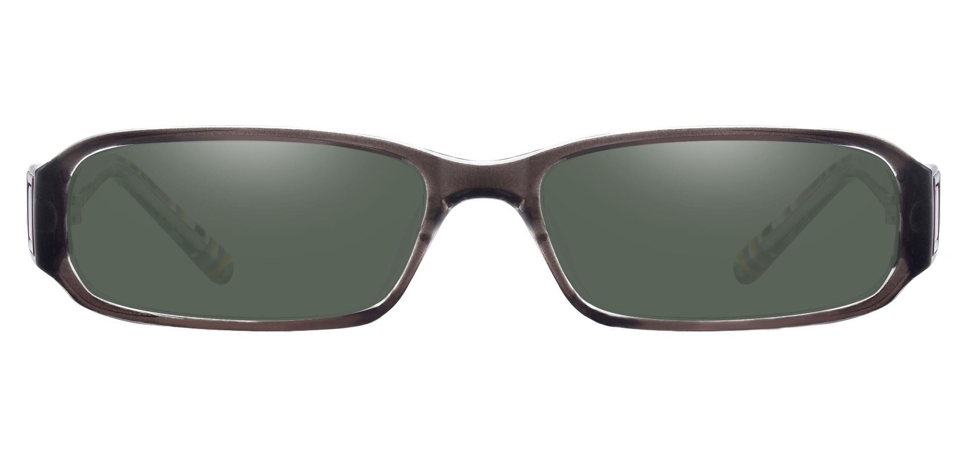 Coral Rectangle Single Vision Sunglasses -  Gray Frame With Green Lenses