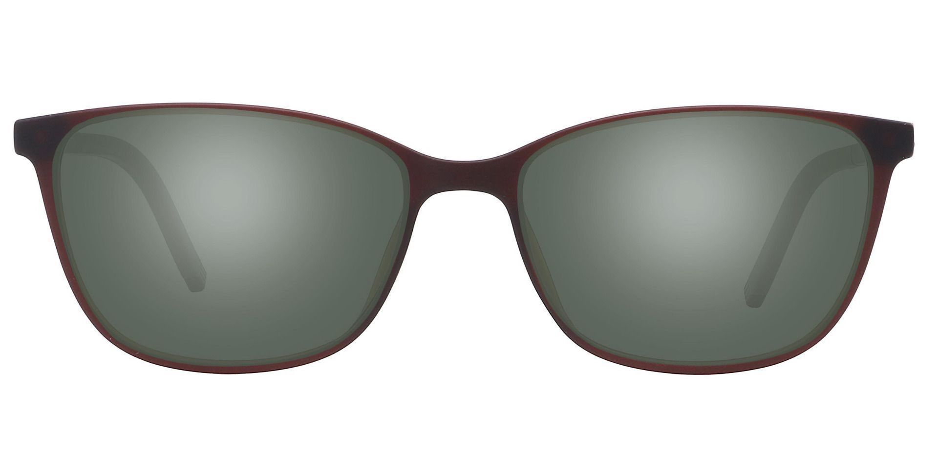 Danica Square Prescription Sunglasses - Brown Frame With Green Lenses