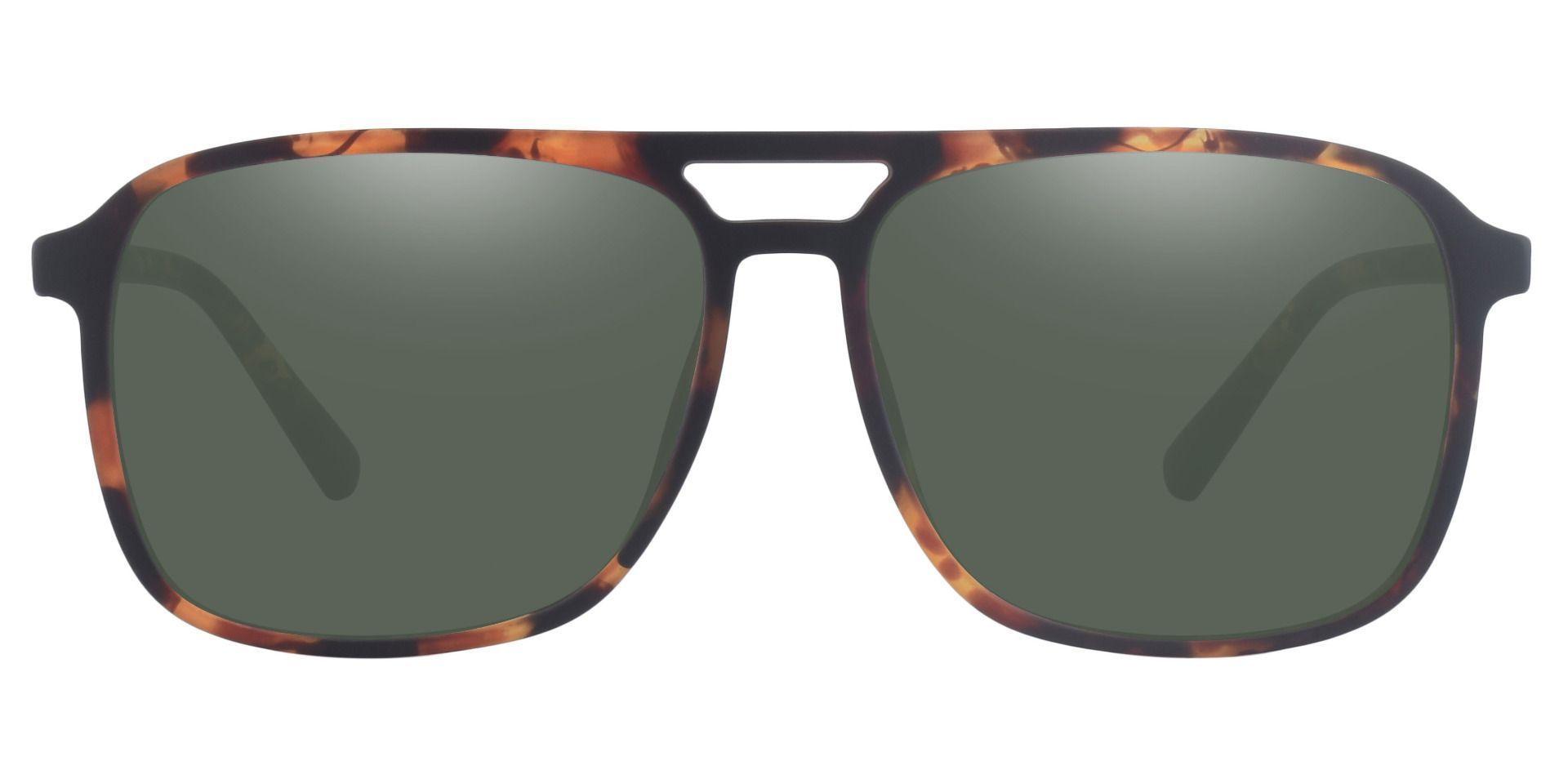 Edward Aviator Prescription Sunglasses - Tortoise Frame With Green Lenses