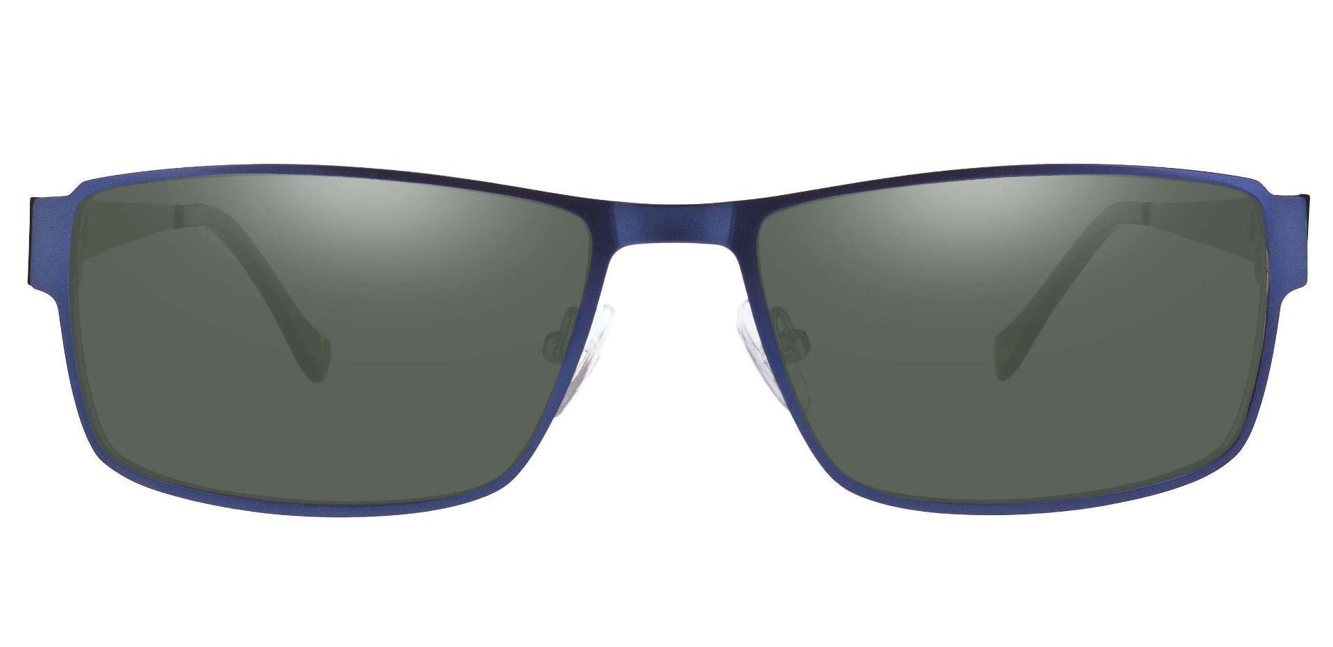 Franco Rectangle Prescription Sunglasses - Blue Frame With Green Lenses