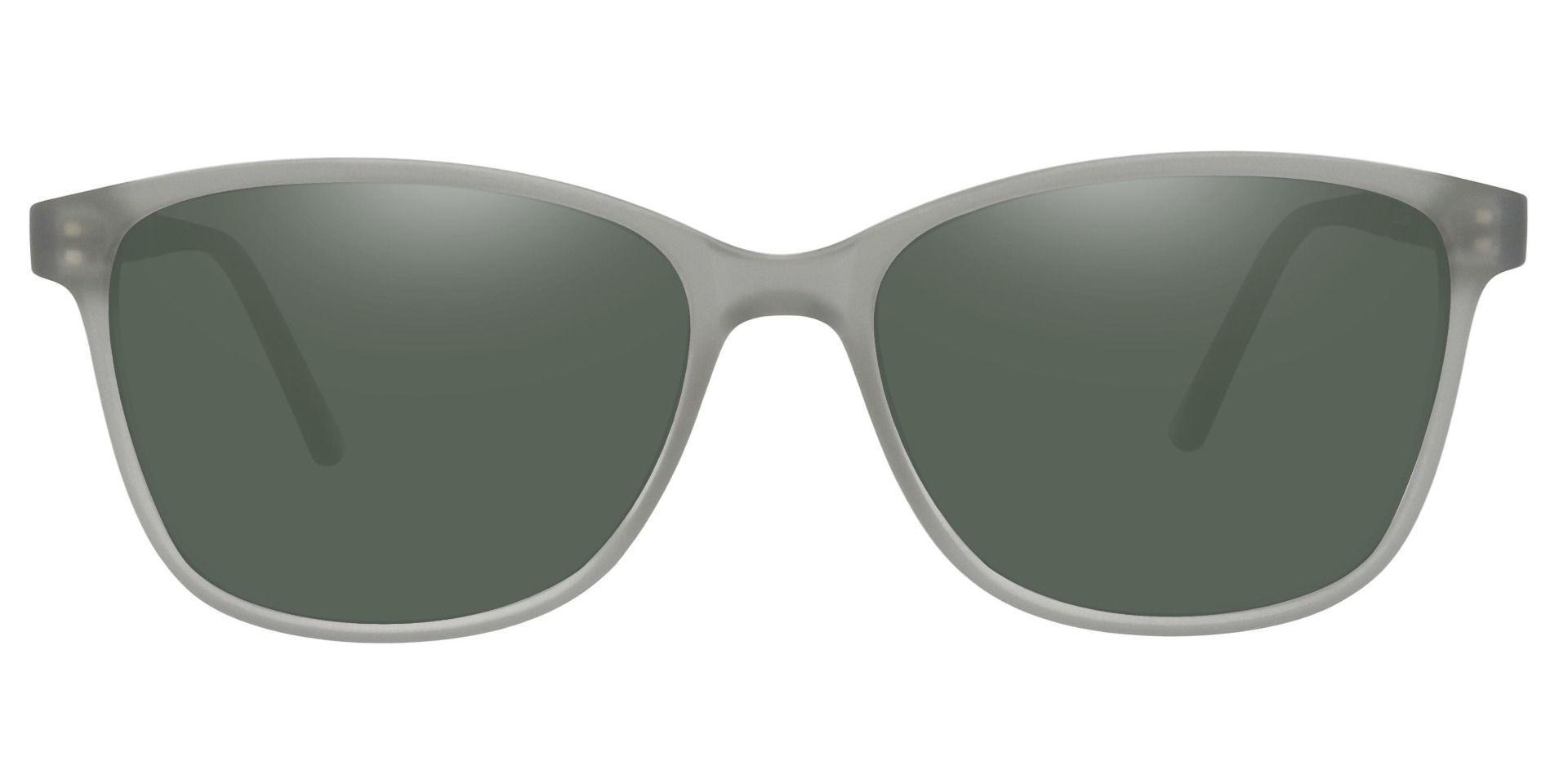 Argyle Rectangle Prescription Sunglasses - Gray Frame With Green Lenses