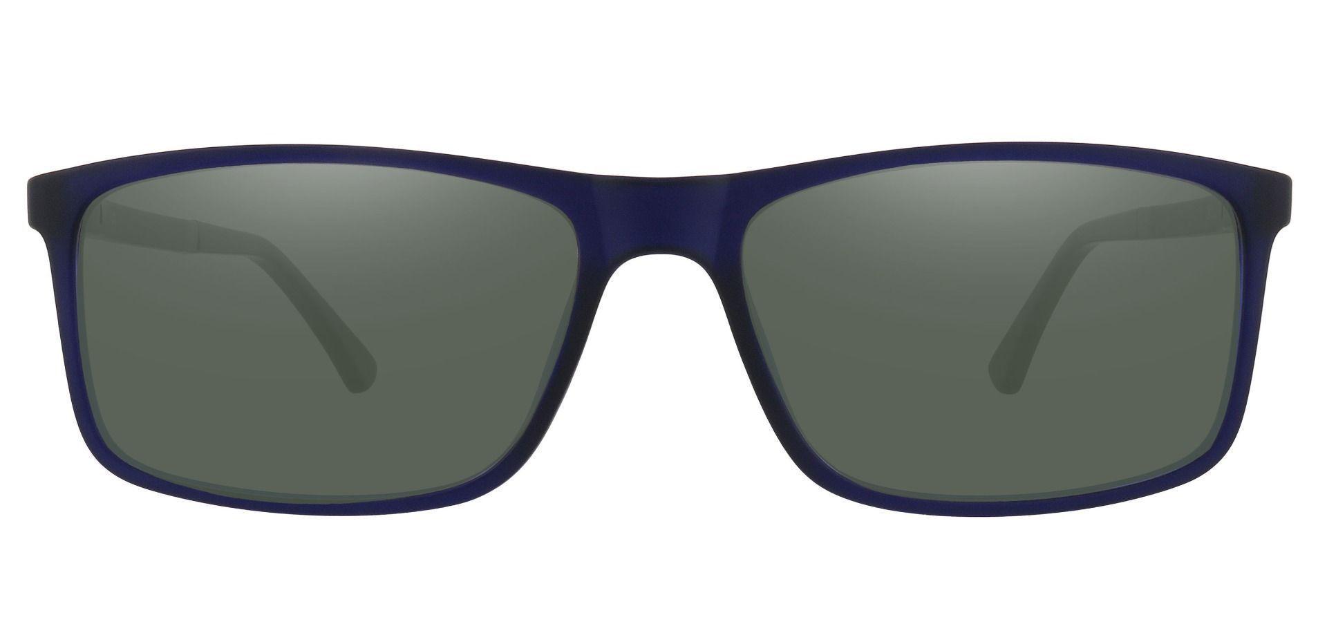 Montana Rectangle Prescription Sunglasses - Blue Frame With Green Lenses