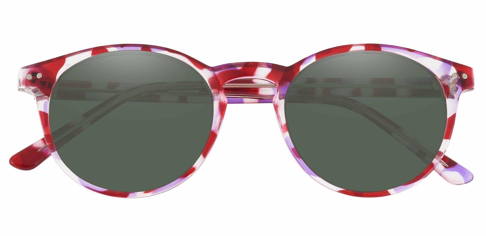 Harmony Oval Prescription Sunglasses - Purple Frame With Green Lenses