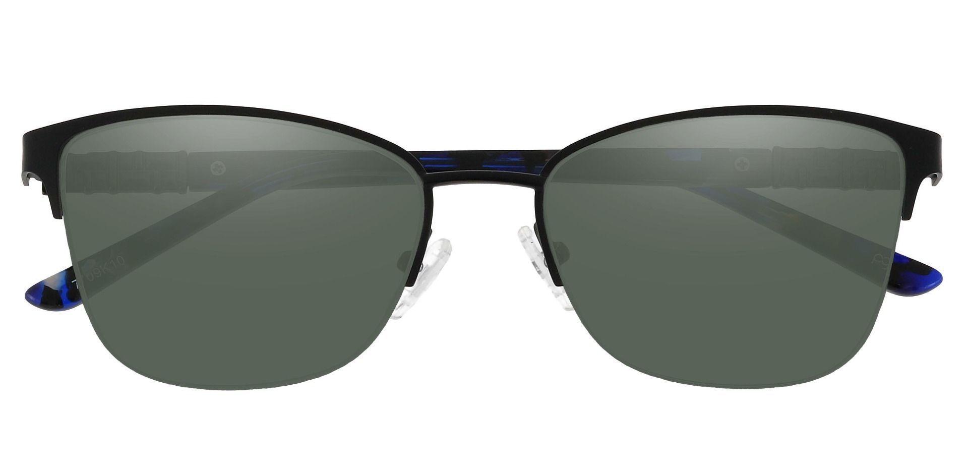 Ballad Cat Eye Progressive Sunglasses - Black Frame With Green Lenses