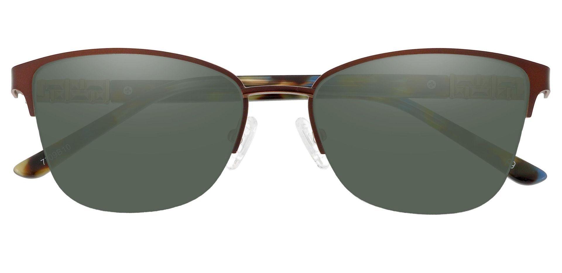 Ballad Cat Eye Progressive Sunglasses - Brown Frame With Green Lenses