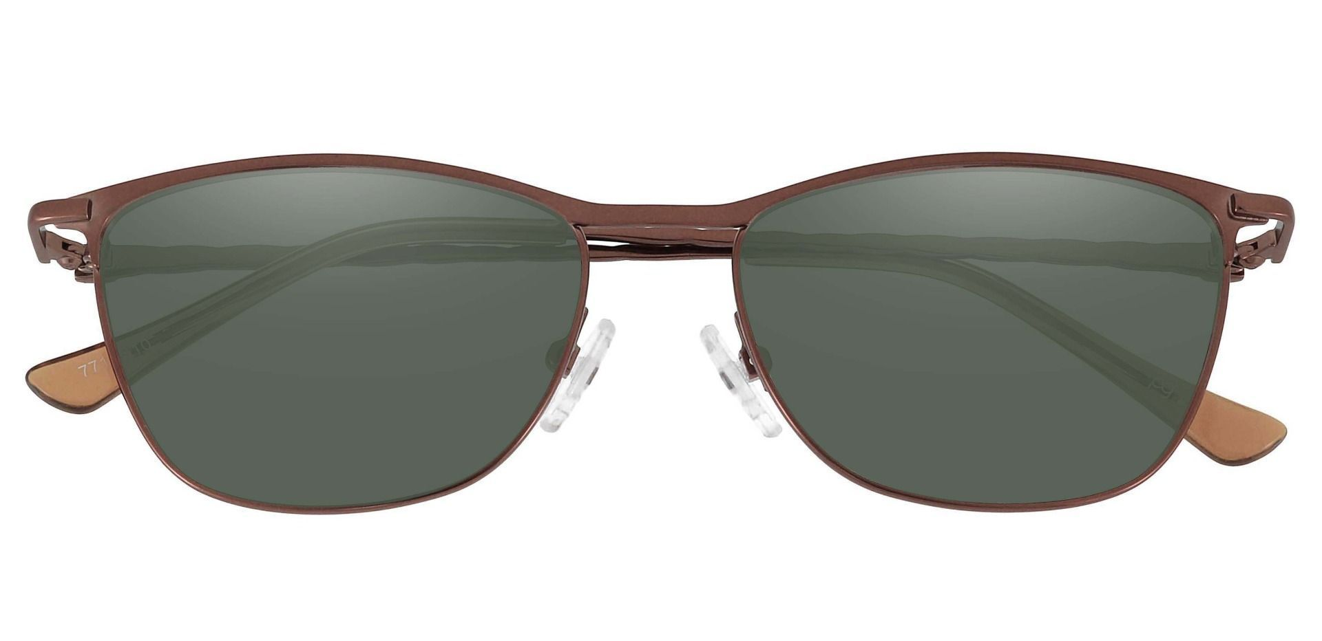 Andrea Cat Eye Non-Rx Sunglasses - Brown Frame With Green Lenses