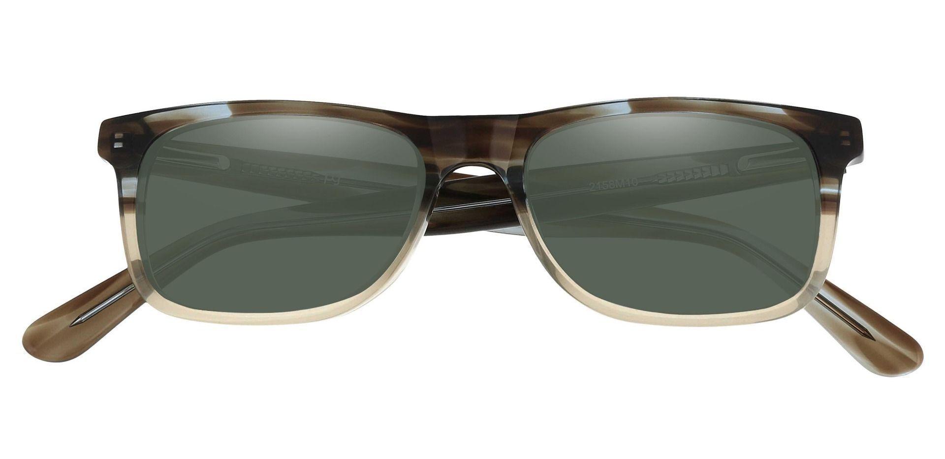 Denali Rectangle Prescription Sunglasses - Multi Color Frame With Green Lenses