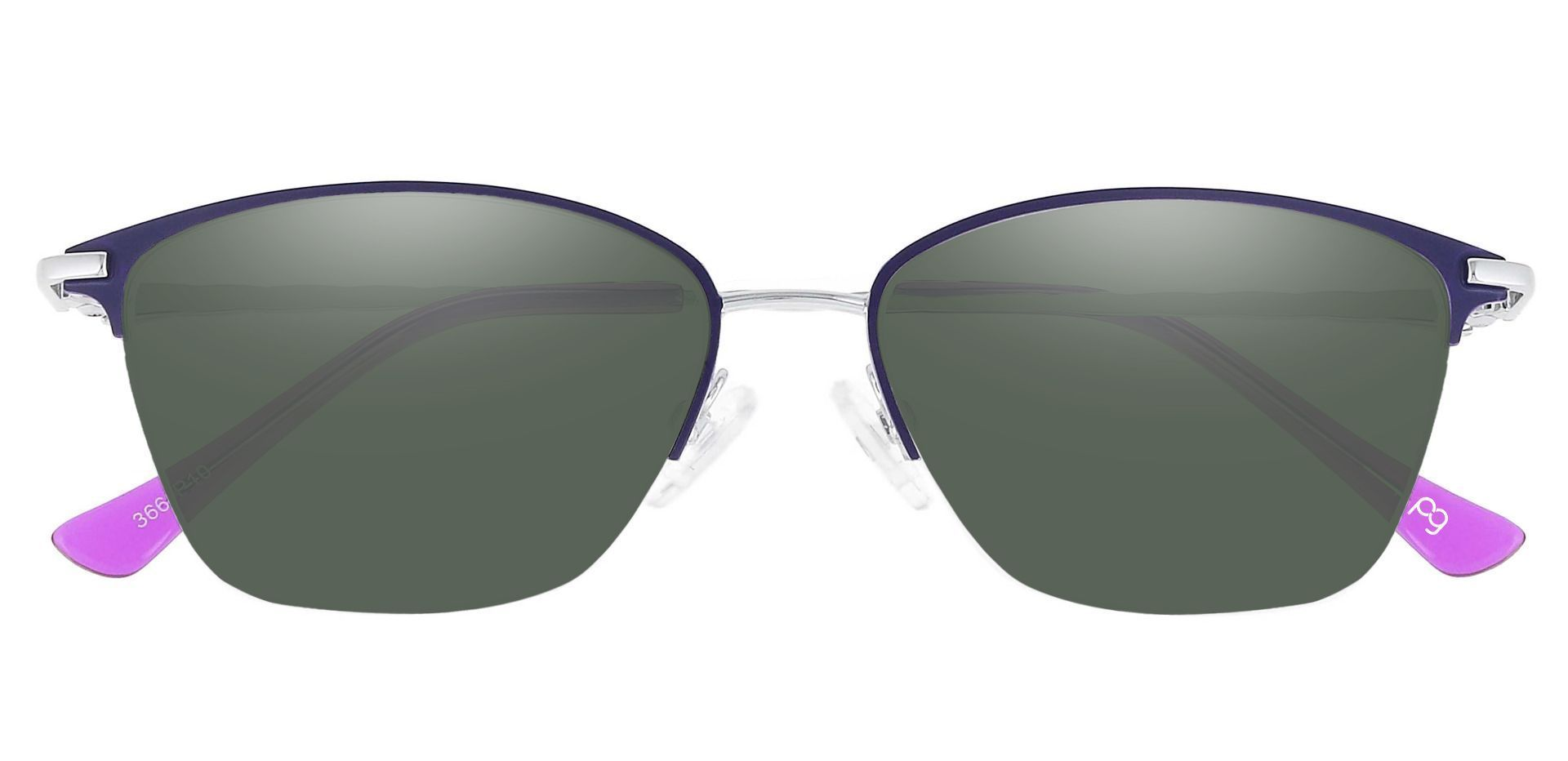 Marigold Rectangle Prescription Sunglasses - Purple Frame With Green Lenses