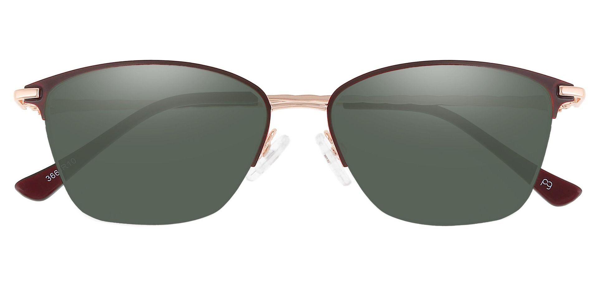 Marigold Rectangle Progressive Sunglasses - Red Frame With Green Lenses