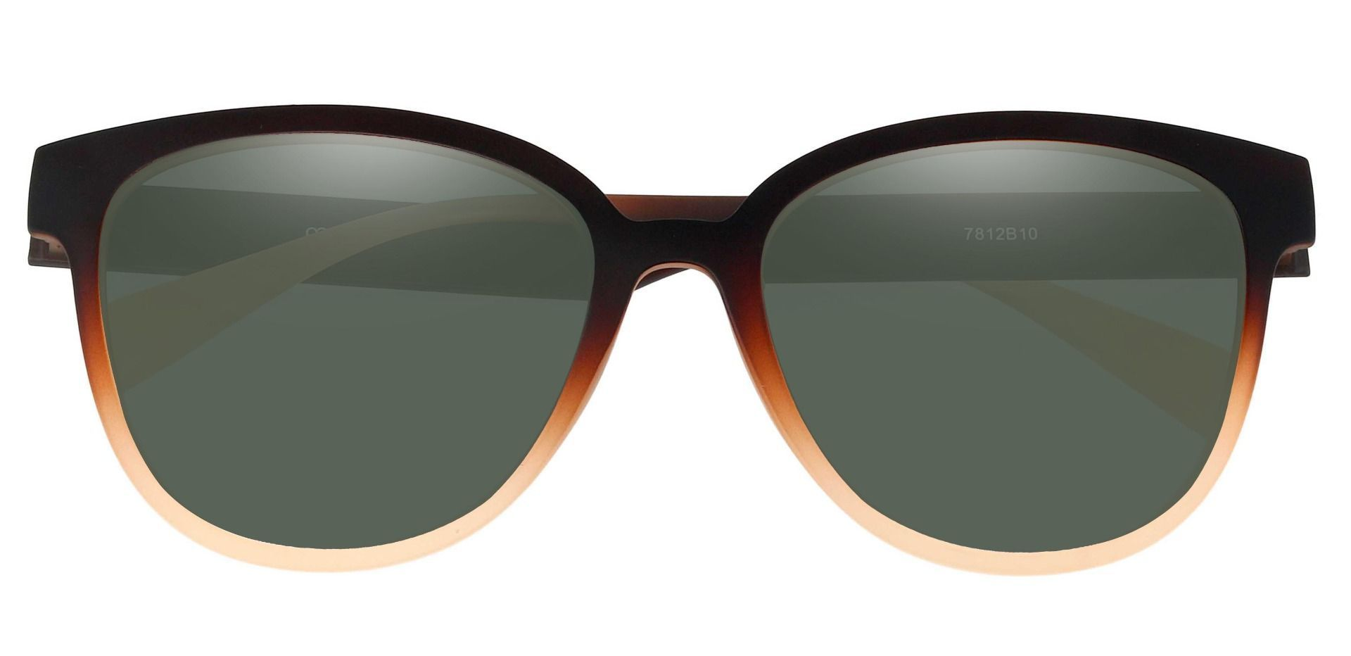 Newport Oval Reading Sunglasses - Brown Frame With Green Lenses