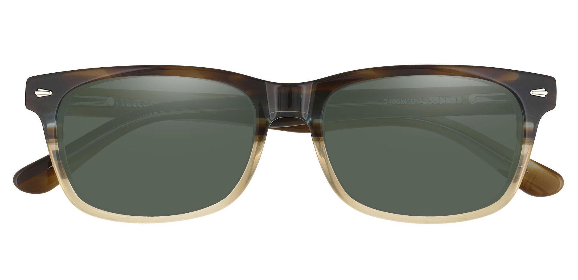 Hendrix Rectangle Non-Rx Sunglasses - Multi Color Frame With Green Lenses