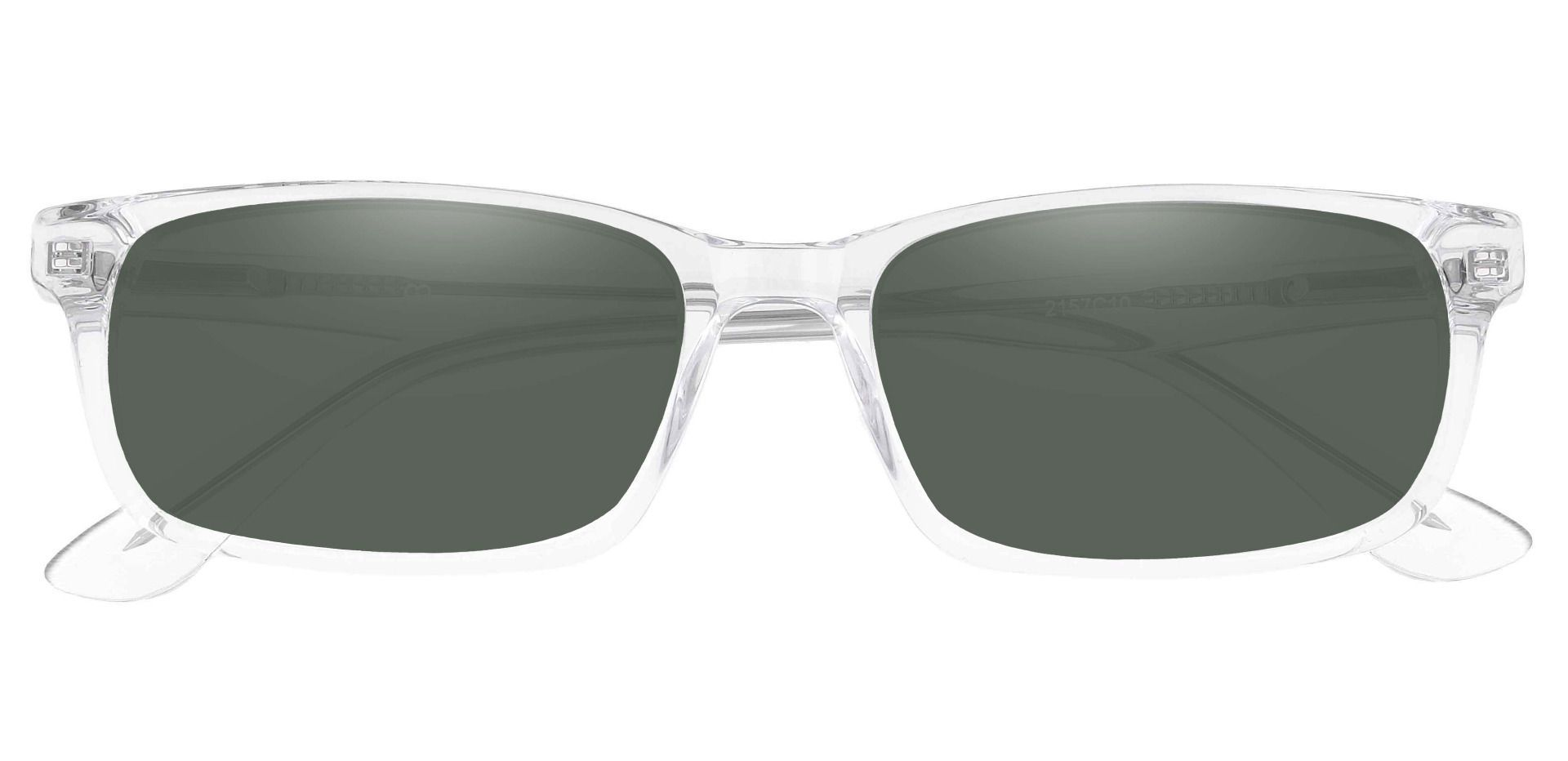 Hendrix Rectangle Non-Rx Sunglasses - Clear Frame With Green Lenses