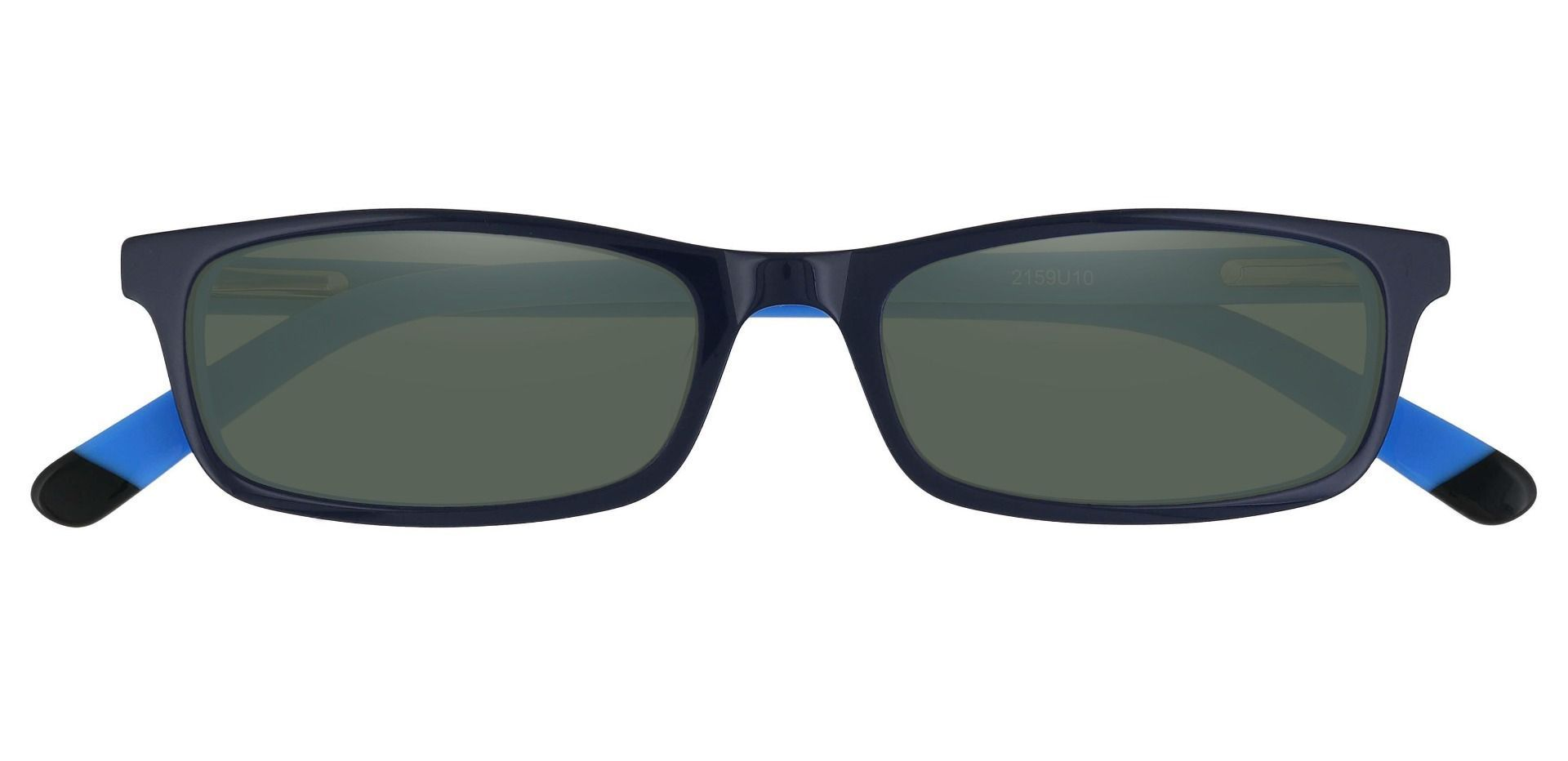 Palisades Rectangle Non-Rx Sunglasses - Blue Frame With Green Lenses