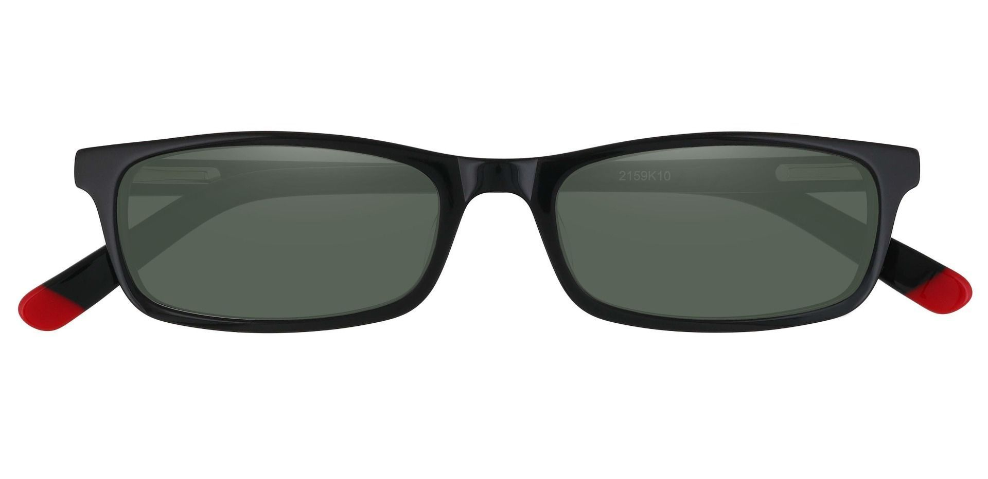 Palisades Rectangle Single Vision Sunglasses - Black Frame With Green Lenses