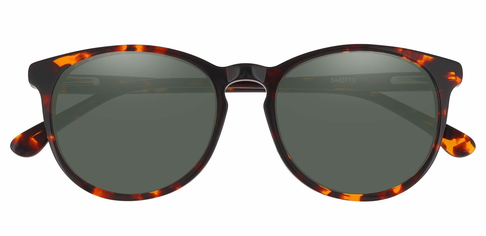 Carriage Round Reading Sunglasses - Tortoise Frame With Green Lenses