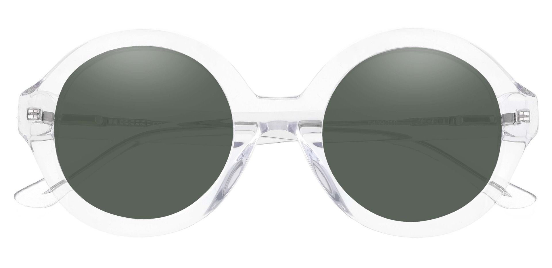 Clara Round Lined Bifocal Sunglasses - Clear Frame With Green Lenses