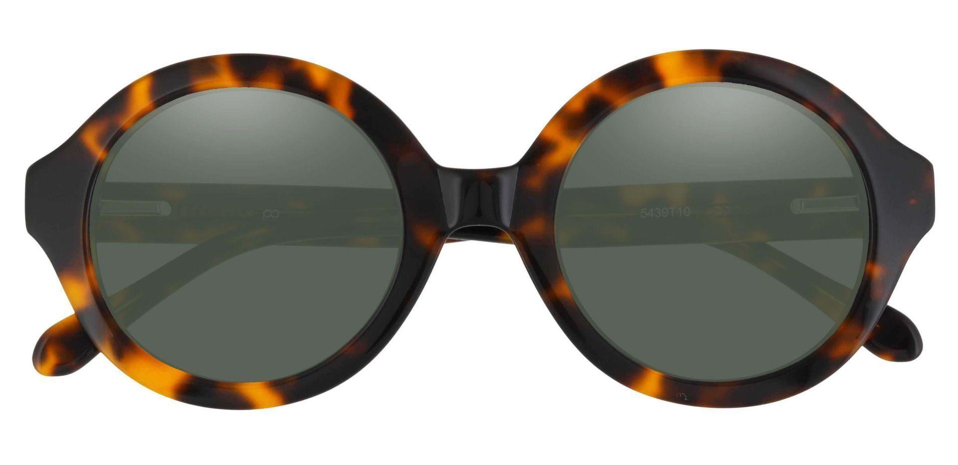 Clara Round Prescription Sunglasses - Tortoise Frame With Green Lenses