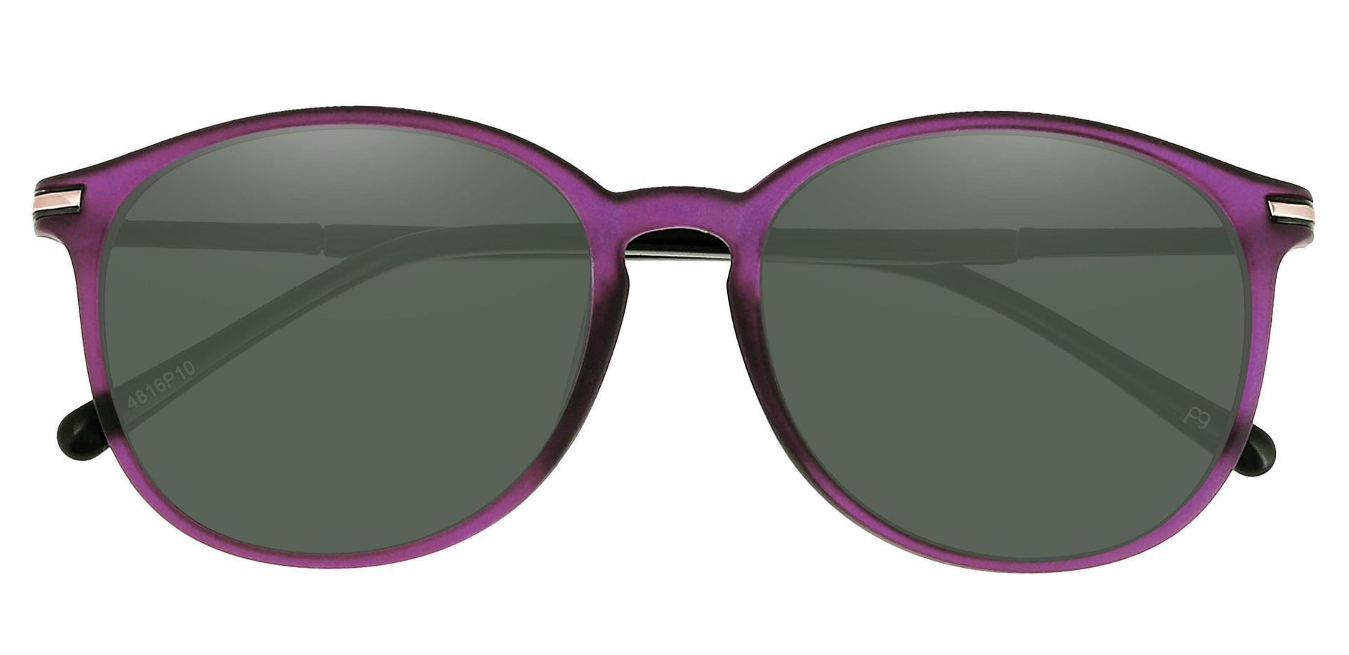 Danbury Oval Non-Rx Sunglasses - Purple Frame With Green Lenses