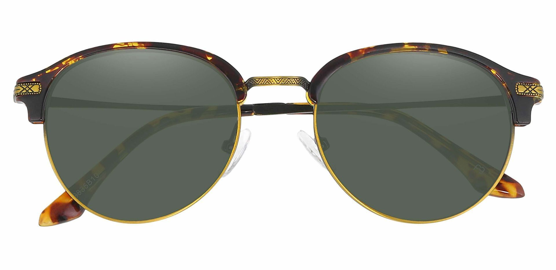 Akron Browline Reading Sunglasses - Tortoise Frame With Green Lenses