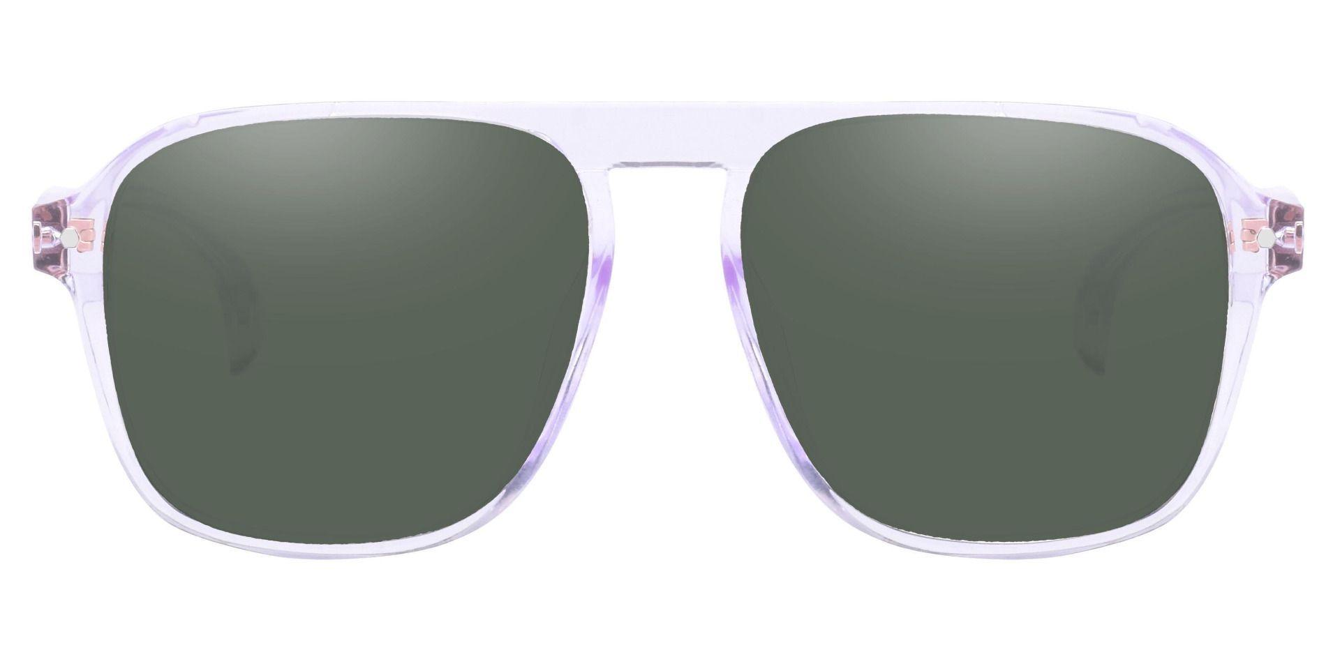 Gideon Aviator Prescription Sunglasses - Clear Frame With Green Lenses