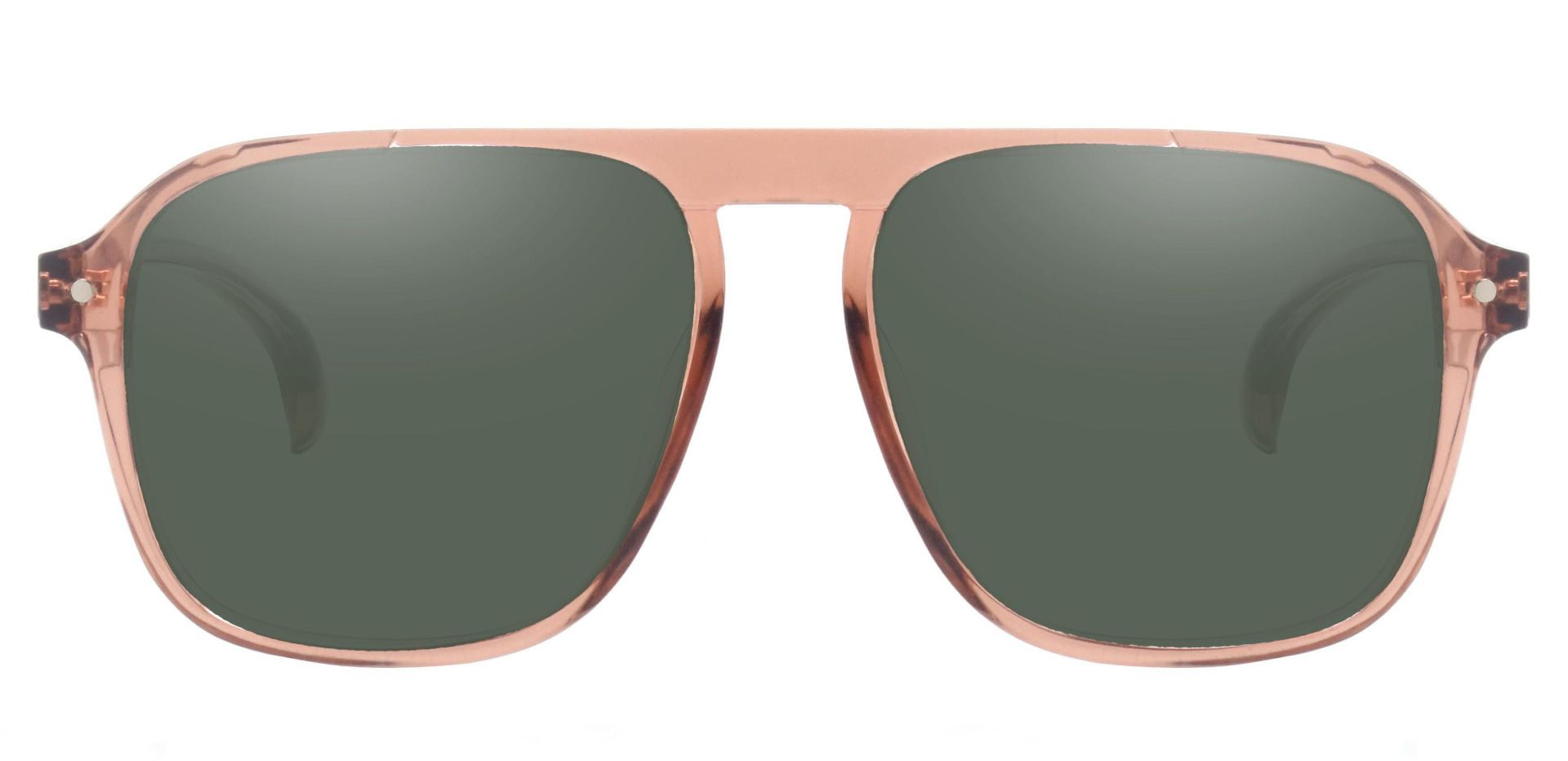 Gideon Aviator Non-Rx Sunglasses - Brown Frame With Green Lenses
