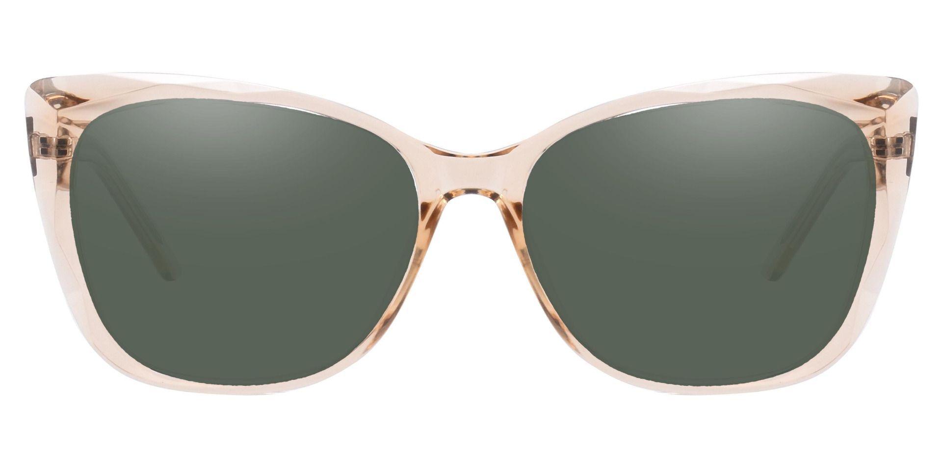 Mabel Square Progressive Sunglasses - Brown Frame With Green Lenses