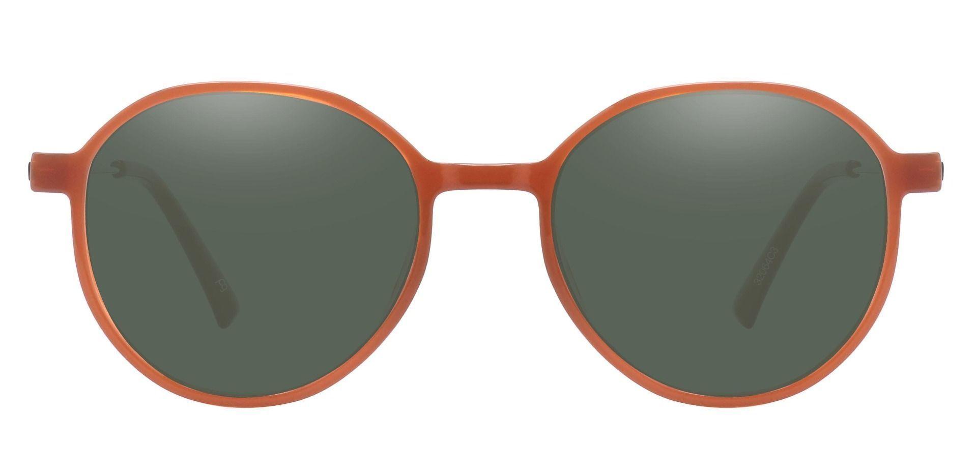 Daytona Geometric Lined Bifocal Sunglasses - Brown Frame With Green Lenses