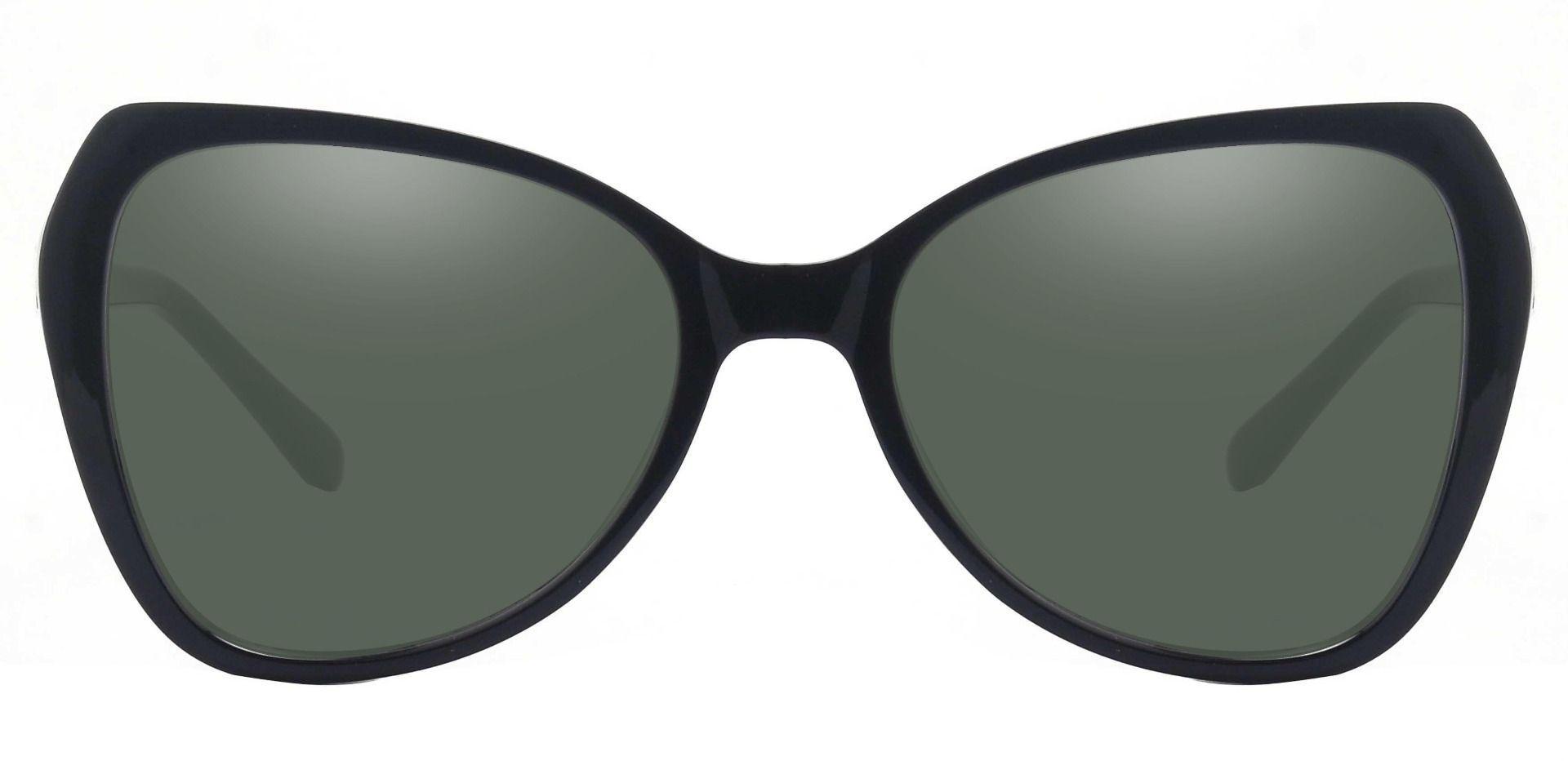 Kayla Geometric Non-Rx Sunglasses - Black Frame With Green Lenses