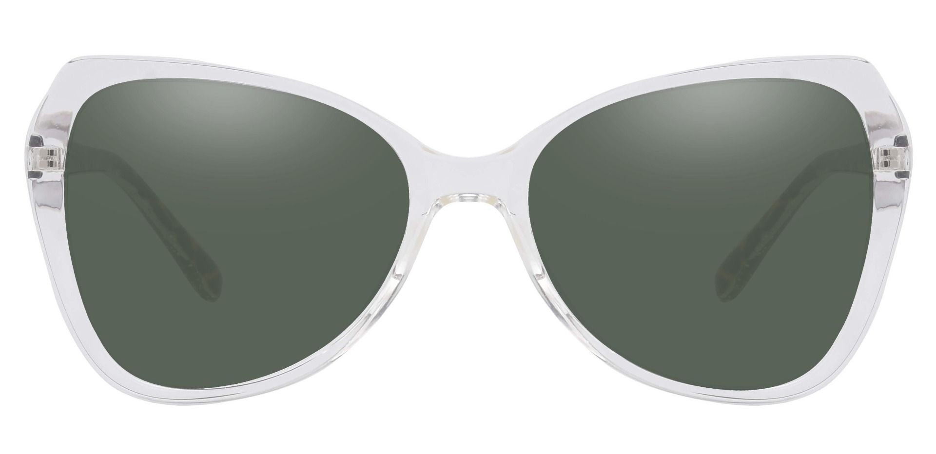 Kayla Geometric Reading Sunglasses - Clear Frame With Green Lenses