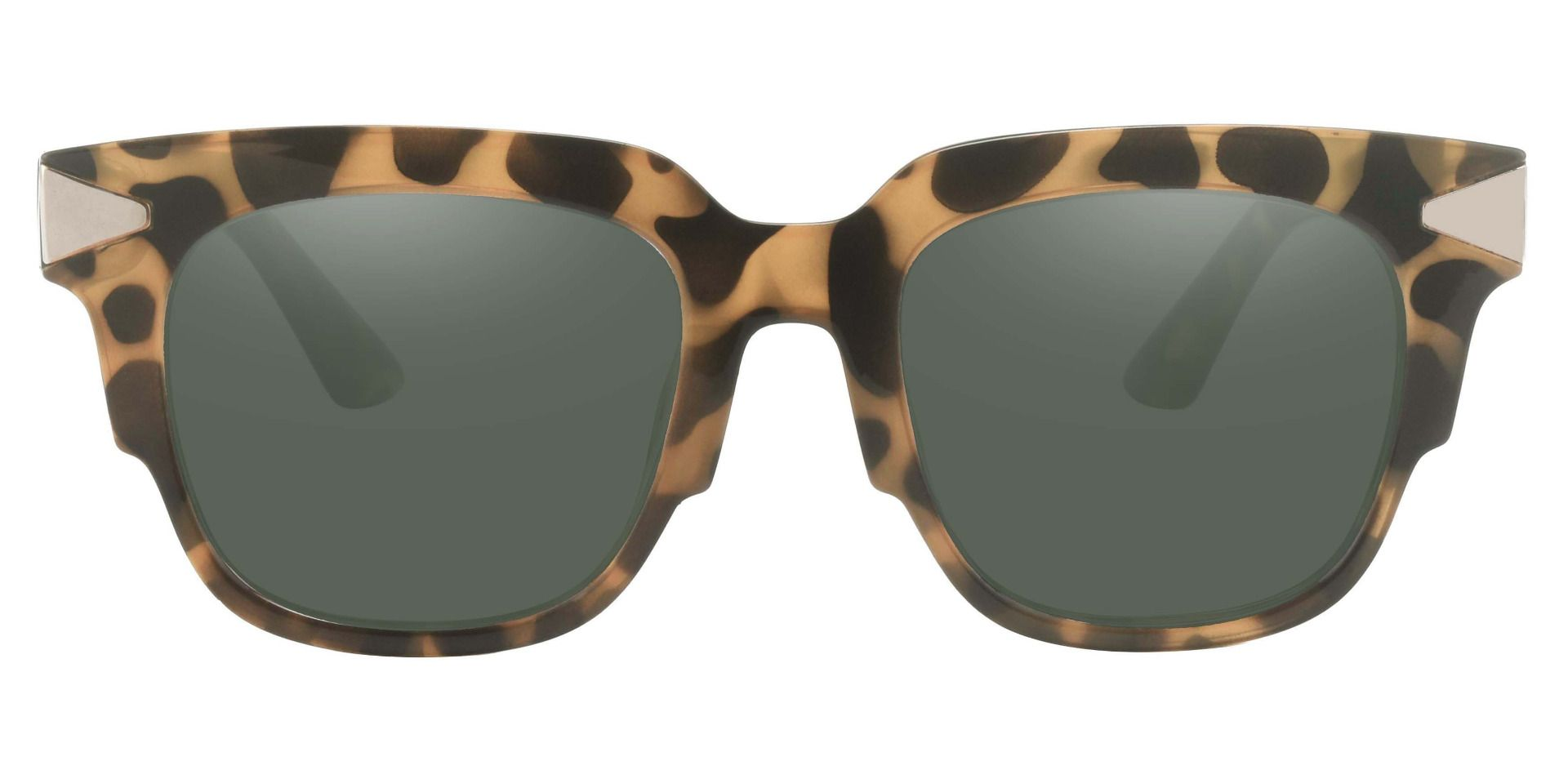 Ardent Square Reading Sunglasses - Tortoise Frame With Green Lenses