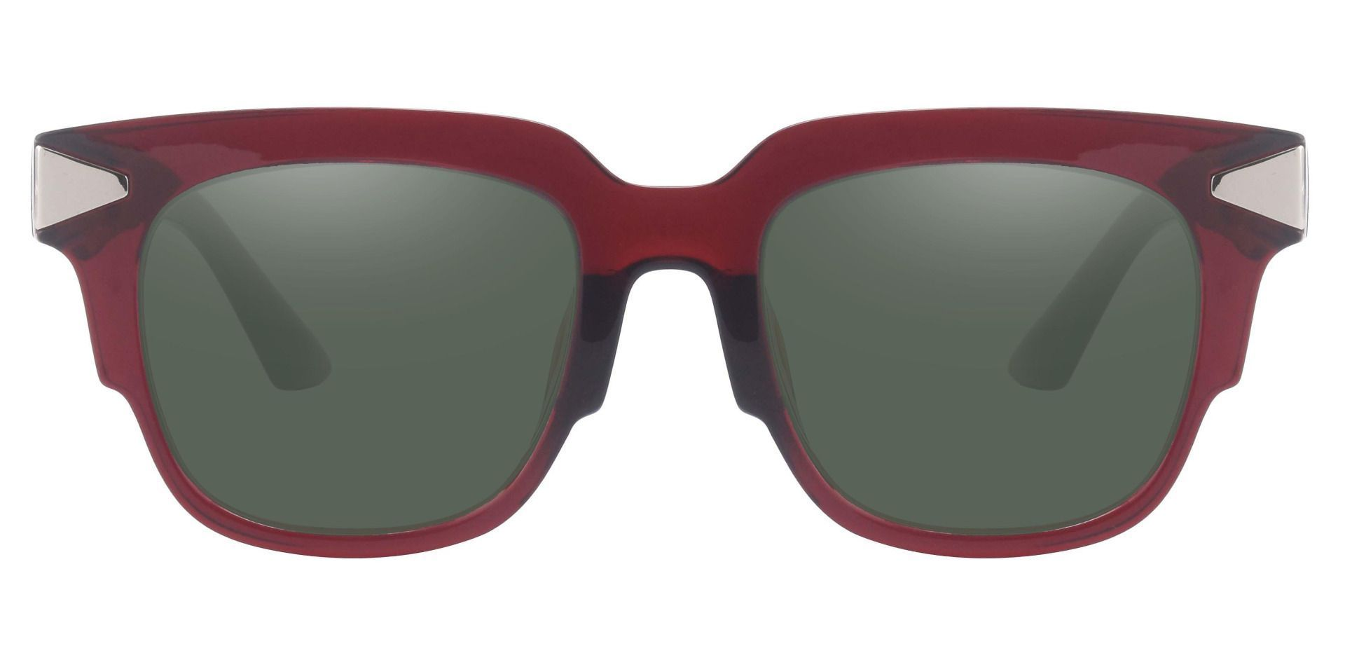 Ardent Square Prescription Sunglasses - Red Frame With Green Lenses