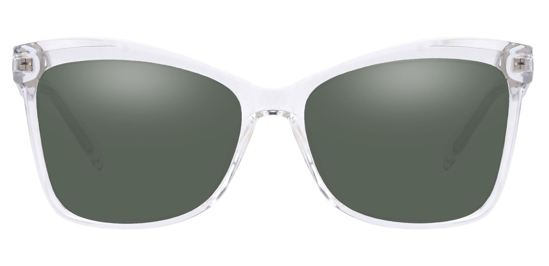 Lexi Cat Eye Lined Bifocal Sunglasses - Clear Frame With Green Lenses