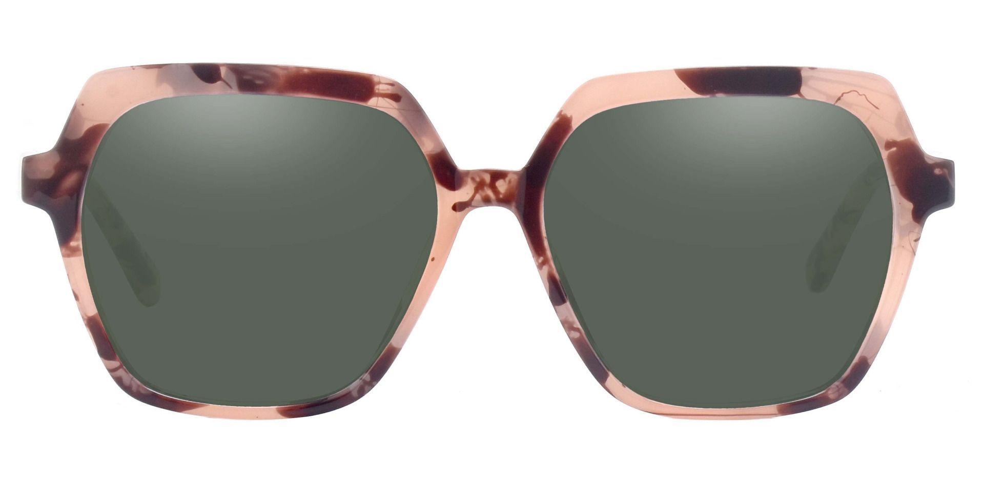 Regent Geometric Reading Sunglasses - Tortoise Frame With Green Lenses