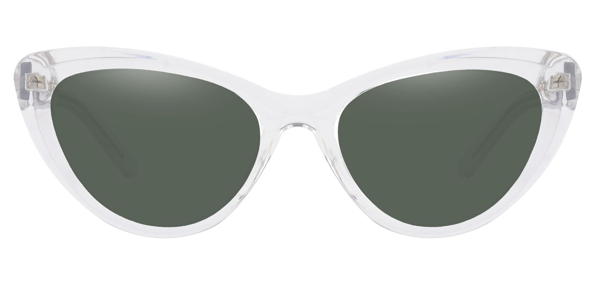 Gemini Cat Eye Lined Bifocal Sunglasses - Clear Frame With Green Lenses