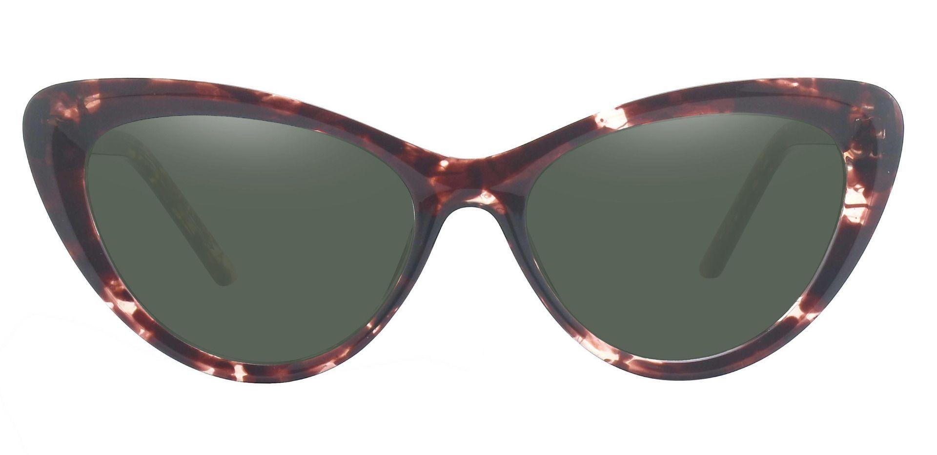 Gemini Cat Eye Progressive Sunglasses - Tortoise Frame With Green Lenses