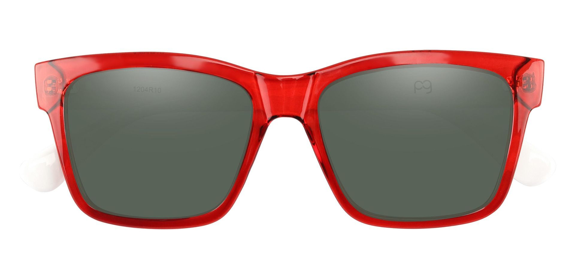 Brinley Square Lined Bifocal Sunglasses - Red Frame With Green Lenses
