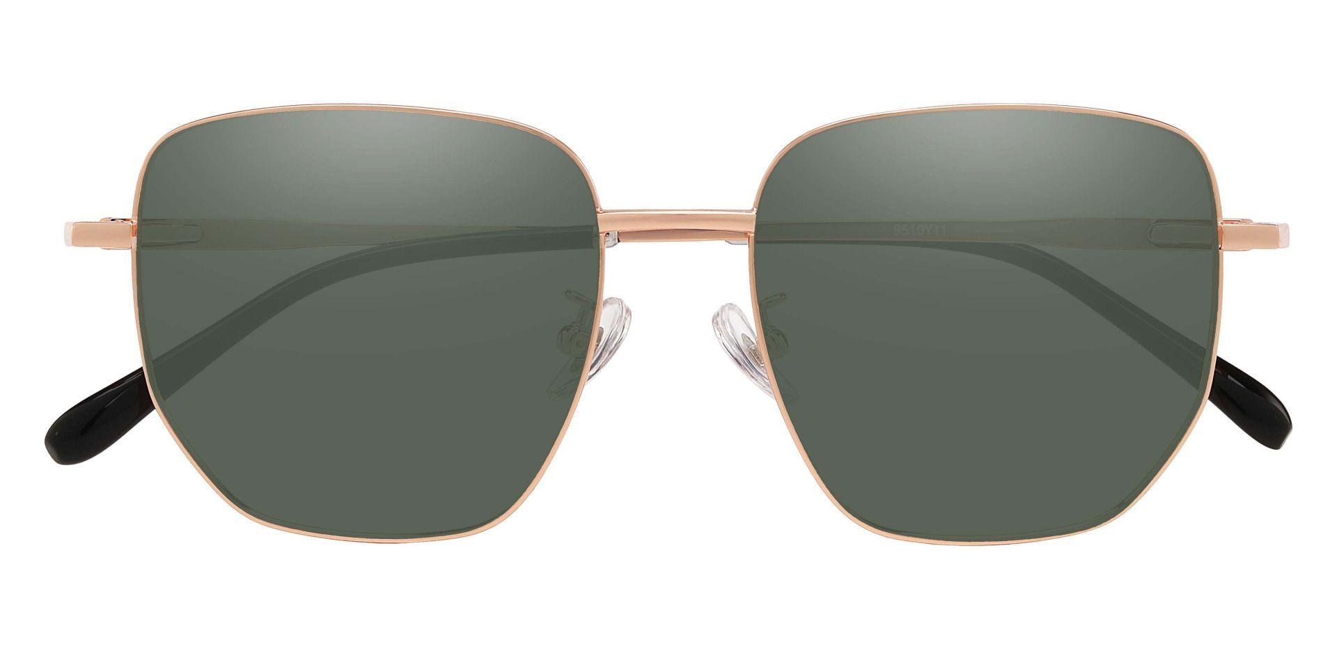 Swayze Geometric Prescription Sunglasses - Gold Frame With Green Lenses