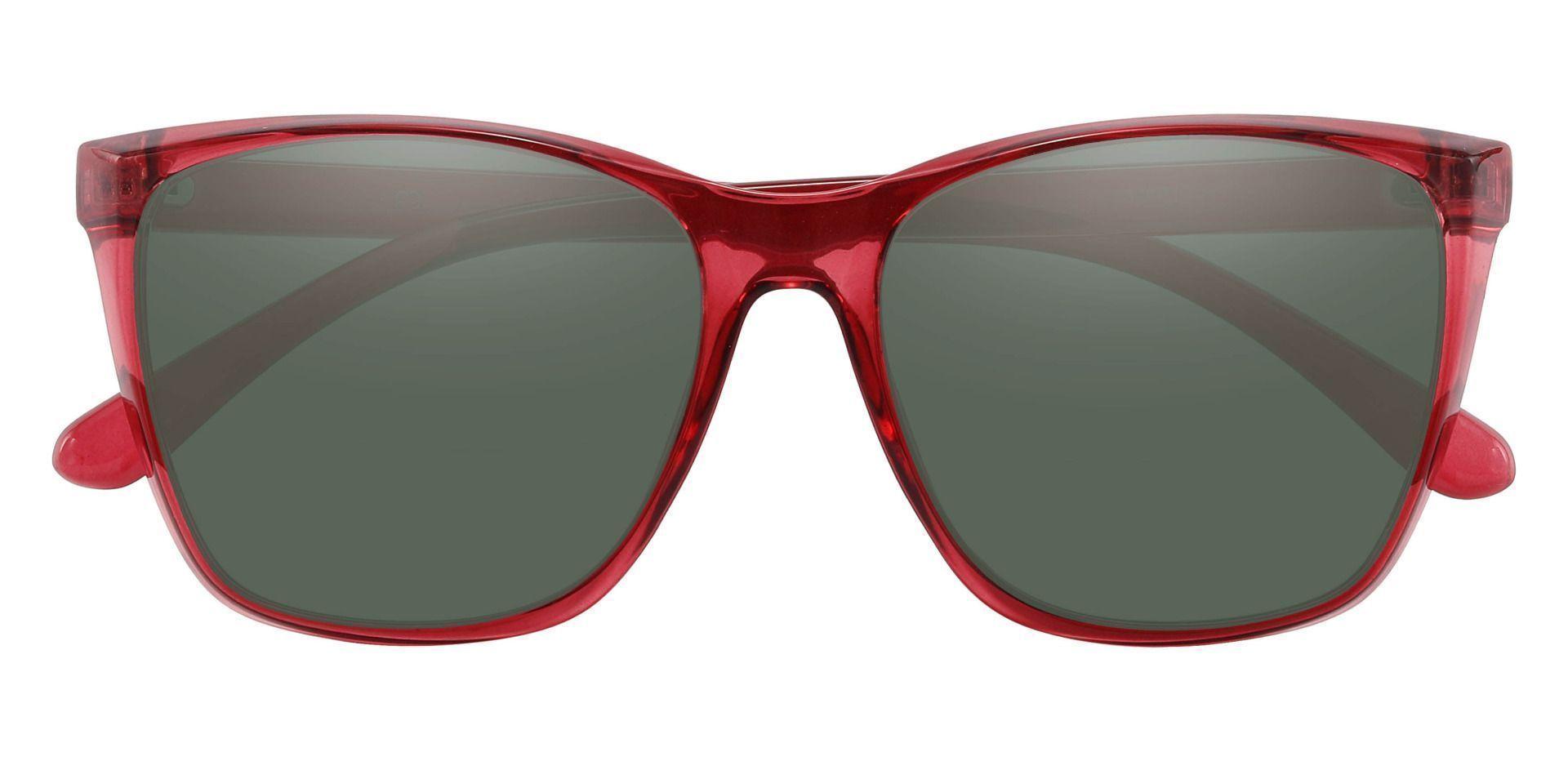 Taryn Square Prescription Sunglasses - Red Frame With Green Lenses