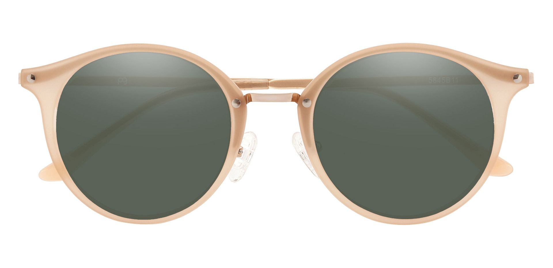 Biloxi Round Prescription Sunglasses - Brown Frame With Green Lenses