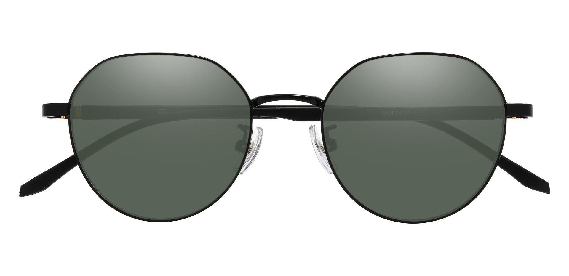 Beatrice Geometric Prescription Sunglasses - Black Frame With Green Lenses