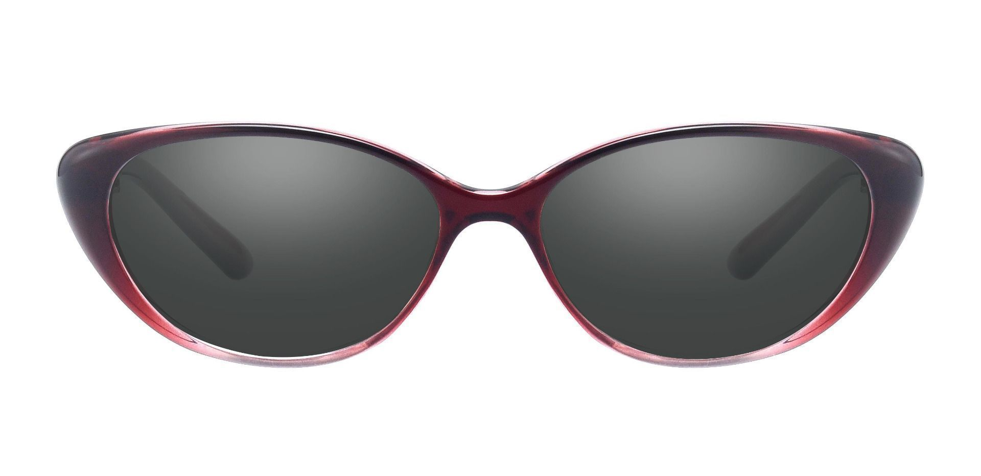 Josie Cat Eye Single Vision Sunglasses - Red Frame With Gray Lenses