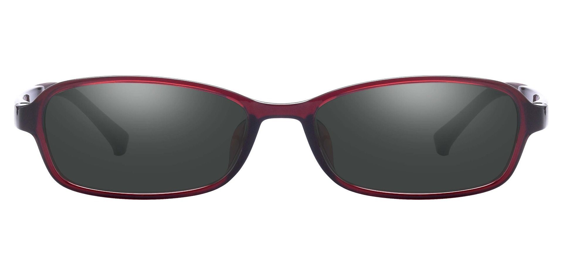 Hollis Rectangle Prescription Sunglasses - Red Frame With Gray Lenses