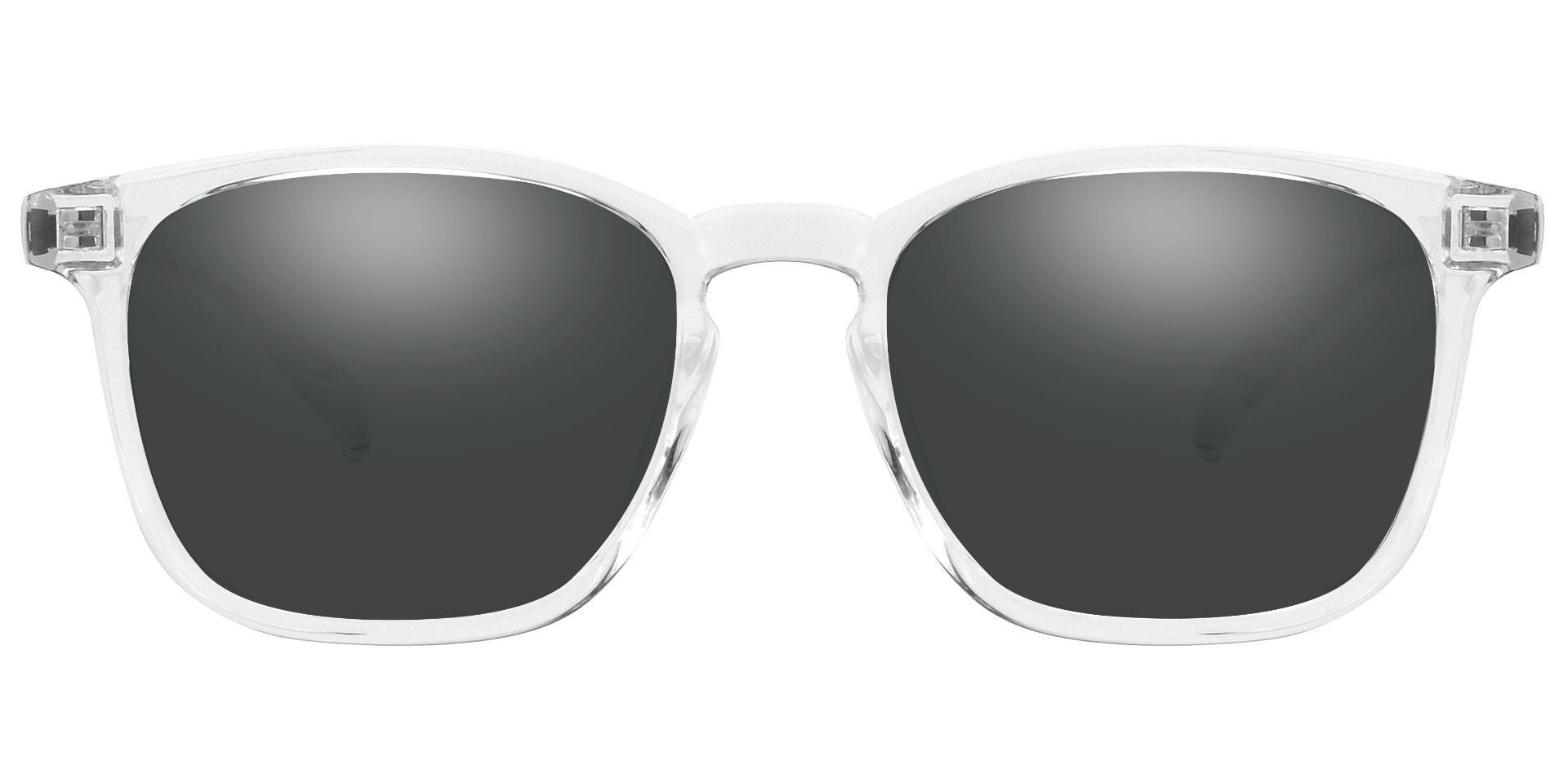 Dusk Classic Square Prescription Sunglasses -  Clear Frame With Gray Lenses