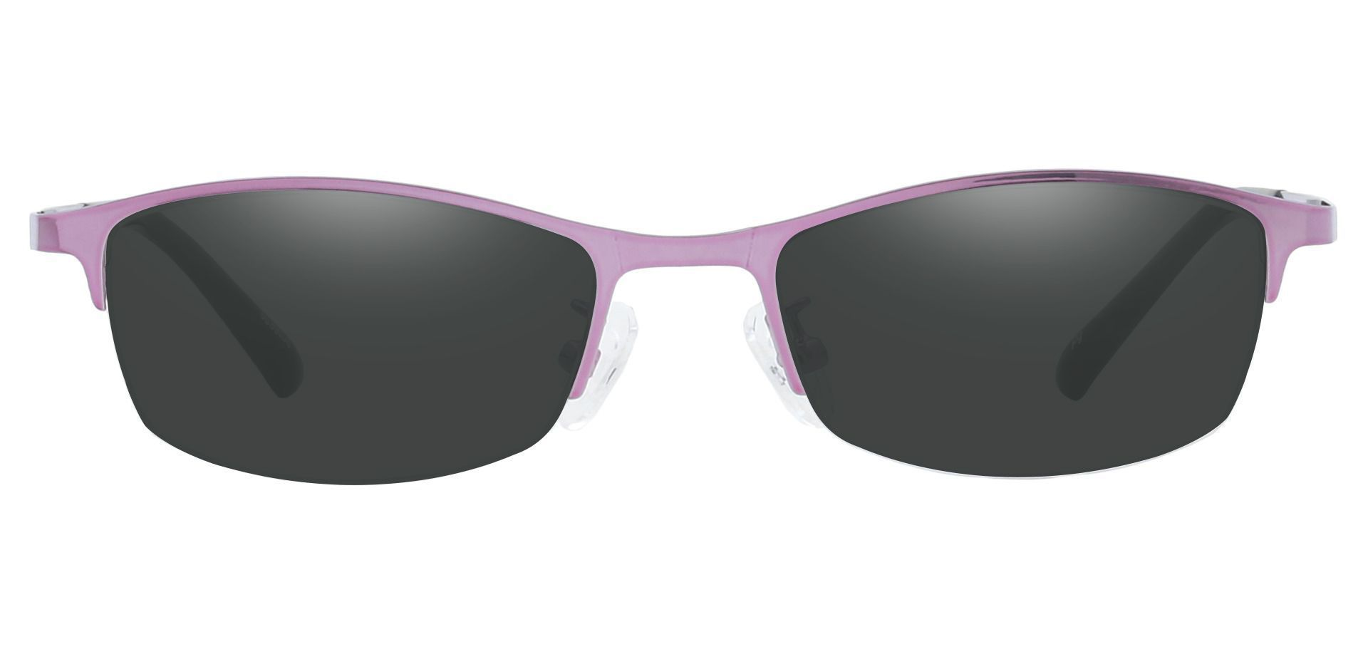 Eliza Rectangle Single Vision Sunglasses -  Pink Frame With Gray Lenses