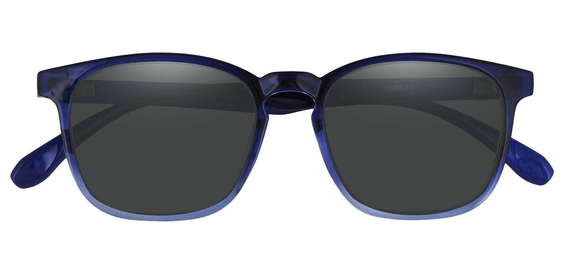 Dusk Classic Square Prescription Sunglasses - Blue Frame With Gray Lenses