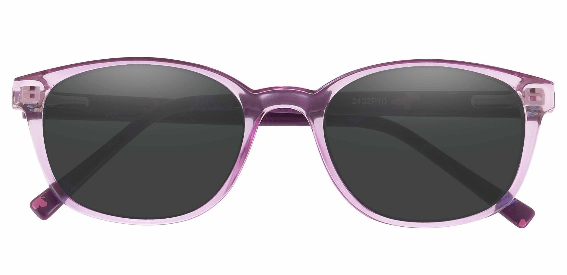 Branson Rectangle Prescription Sunglasses - Purple Frame With Gray Lenses
