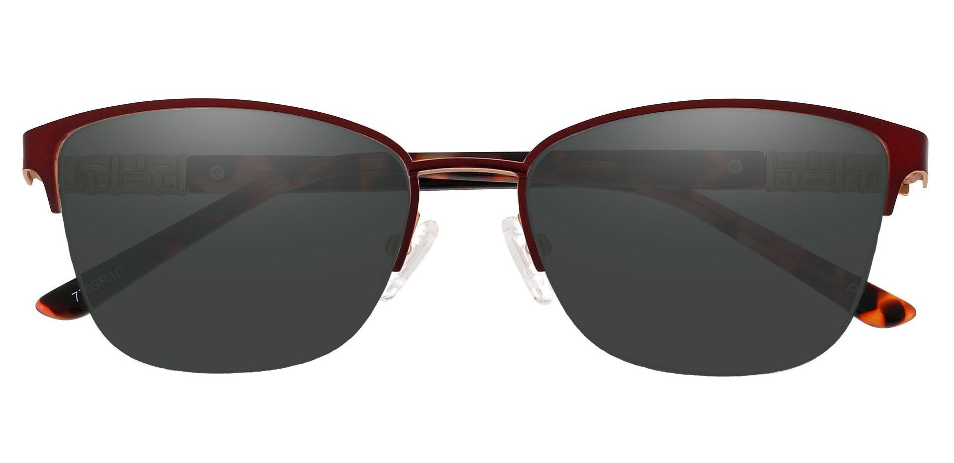 Ballad Cat Eye Lined Bifocal Sunglasses - Red Frame With Gray Lenses