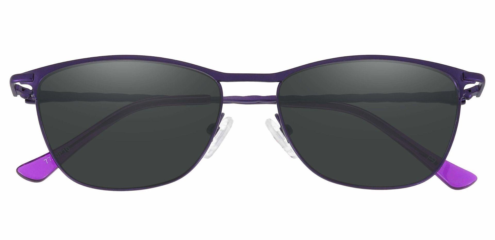 Andrea Cat Eye Prescription Sunglasses - Purple Frame With Gray Lenses