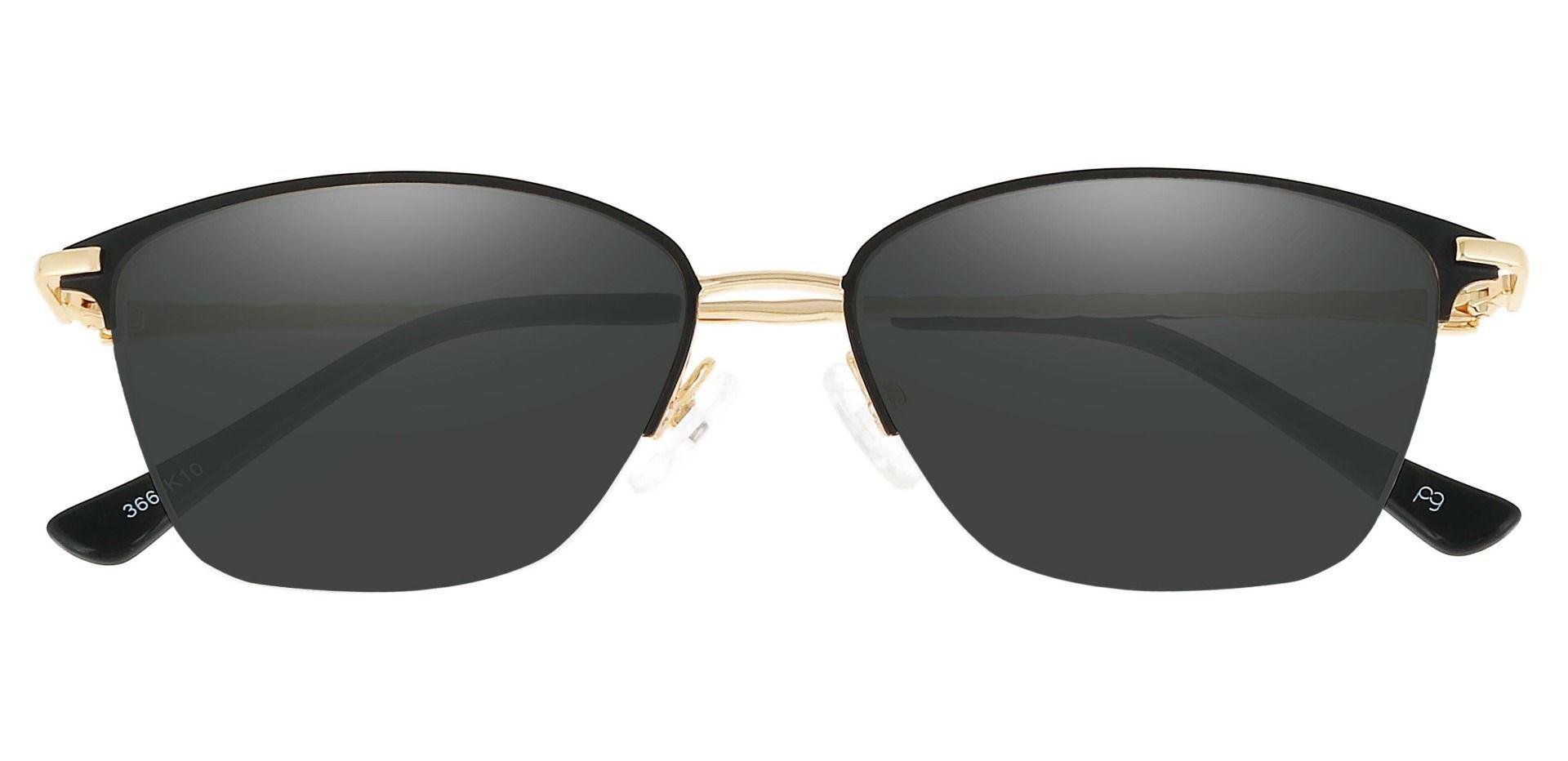Marigold Rectangle Prescription Sunglasses - Black Frame With Gray Lenses